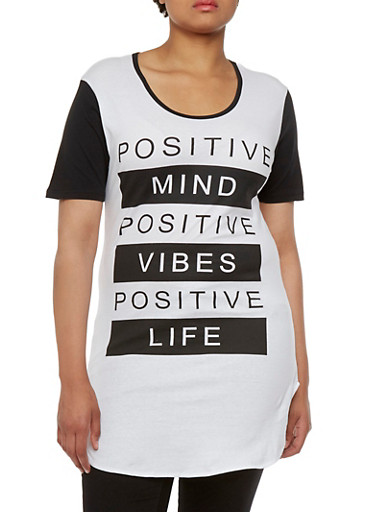 Plus Size Tunic Top with Positive Graphic,WHT-BLK,large