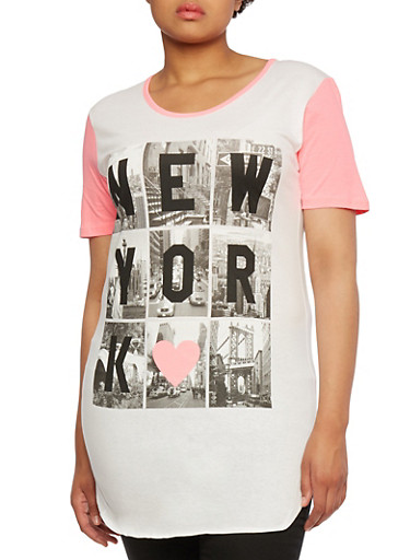 Plus Size Raglan Tunic Top with New York Heart Graphic,WHITE/PINK,large