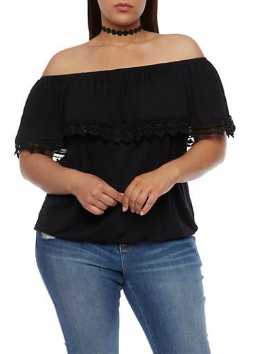 Plus Size Off the Shoulder Top with Crochet Trim,BLACK,large