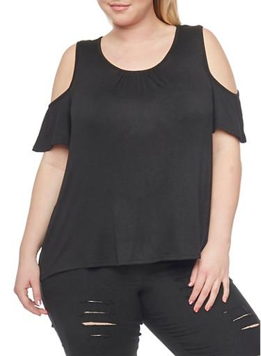 Plus Size Shirred Cold Shoulder Top,BLACK,large