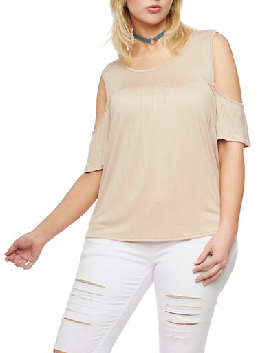 Plus Size Shirred Cold Shoulder Top,DESERT,large
