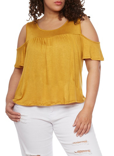 Plus Size Shirred Cold Shoulder Top,MUSTARD,large