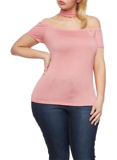 Plus Size Off The Shoulder Top with Choker Neck,MAUVE,large