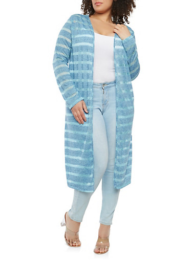 Plus Size Striped Duster,ROYAL,large