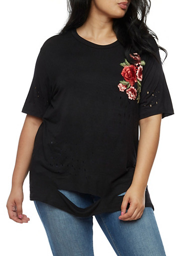 Plus Size Floral Applique Laser Cut T Shirt,BLACK,large