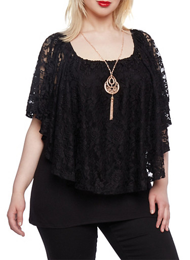 Plus Size Lace Top with Necklace,BLACK,large