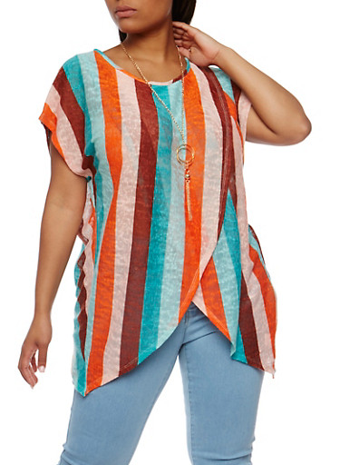 Plus Size Tulip Hem Striped Top with Necklace,JADE - COMBO,large