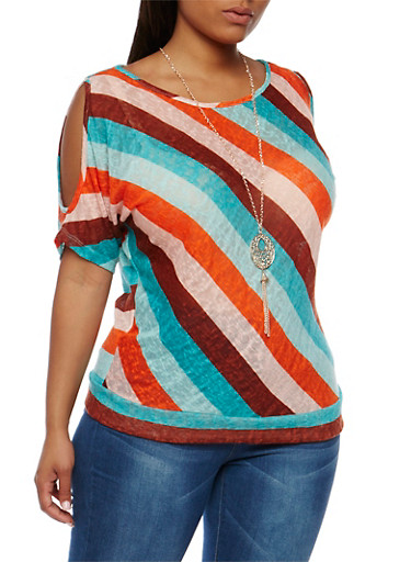Plus Size Striped Cold Shoulder Top with Necklace,JADE COMBO,large