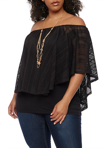 Plus Size Off the Shoulder Lace Overlay Top with Necklace,BLACK,large