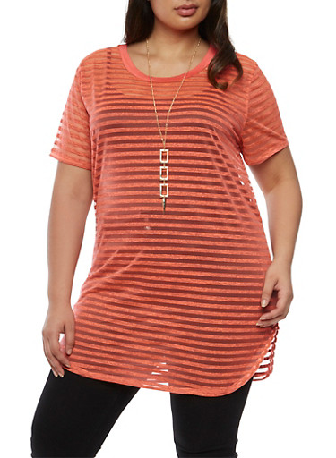 Plus Size Short Sleeve Shadow Stripe Tunic Top with Necklace,NEW CORAL,large
