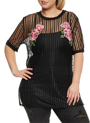 Plus Size Embroidered Shadow Stripe Tunic Top,BLACK,large