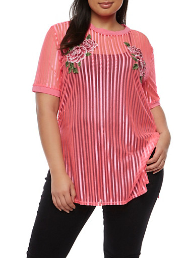 Plus Size Embroidered Shadow Stripe Tunic Top,PINK,large