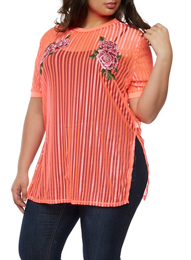 Plus Size Embroidered Shadow Stripe Tunic Top,CORAL,large