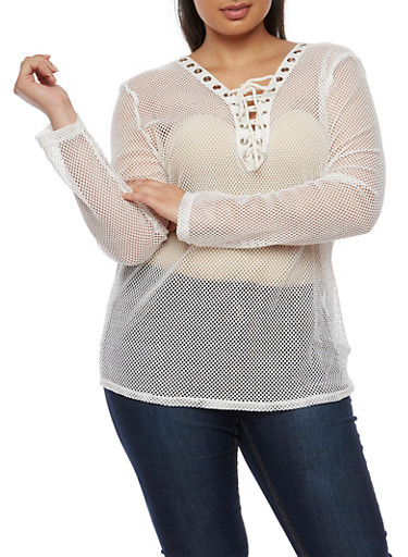 Plus Size Long Sleeve Plunging Lace Up V Neck Mesh Top,WHITE,large