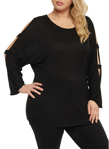 Plus Size Lattice Sleeve Top,BLACK,large