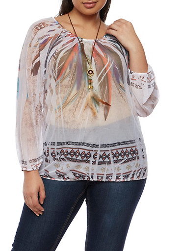 Plus Size Feather Print Mesh Top with Necklace,WHITE,large