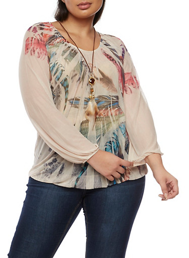 Plus Size Feather Print Mesh Top with Necklace,MOCHA,large
