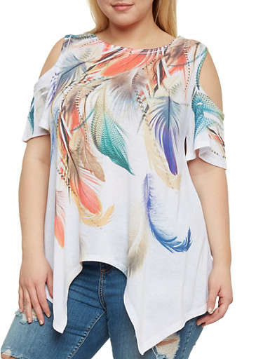 Plus Size Feather Print Cold Shoulder Top,IVORY,large