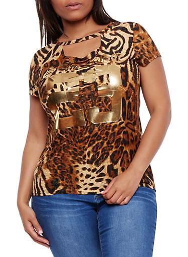 Plus Size Leopard Print Lasercut T Shirt,BROWN,large