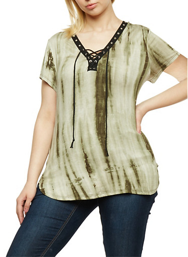 Plus Size Tie Dye Lace Up Top,OLIVE,large