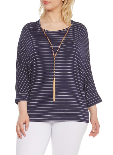 Plus Size Striped Dolman Sleeve Top with Necklace,NAVY/WHITE,large