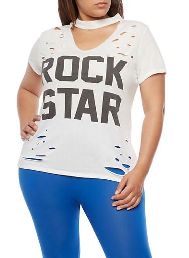 Plus Size Rockstar Graphic Lasercut Choker Top,IVORY,large