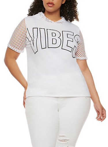 Plus Size Hooded Vibes Graphic Short Sleeve Top with Mesh Details,WHITE,large