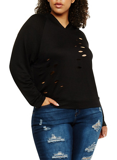 Plus Size Long Sleeve Lasercut Hoodie,BLACK,large