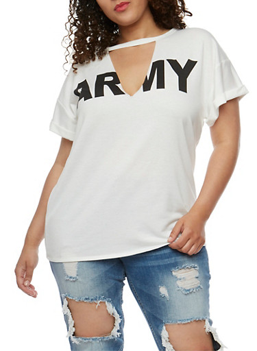 Plus Size Army Graphic Top with V Cutout,IVORY,large