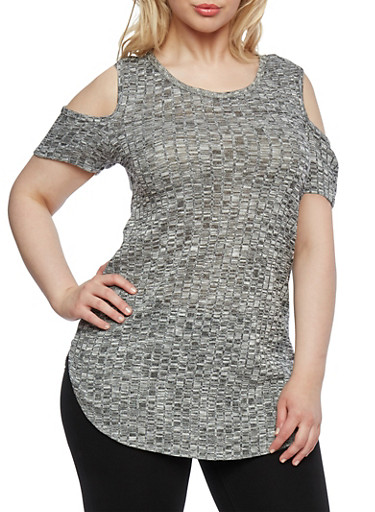 Plus Size Marled Knit Top with Cold Shoulders,GRAY,large