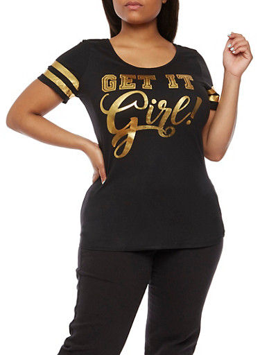Plus Size Get It Girl Foil Graphic Top,BLACK,large