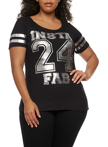 Plus Size Insta Fab Foil Graphic Top,BLACK,large