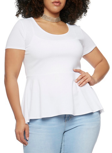 Plus Size Soft Knit Peplum Top with Choker Necklace,WHITE,large