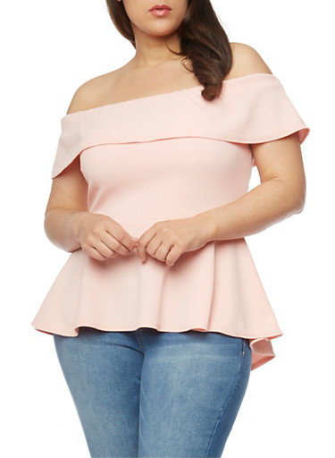 Plus Size Ruffled Off the Shoulder Peplum Top,BLUSH,large