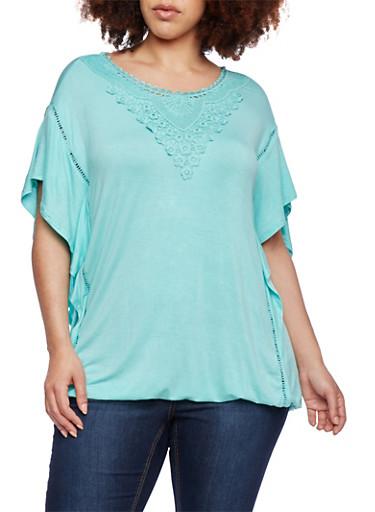 Plus Size Flutter Top with Crochet Neckline,AQUA,large