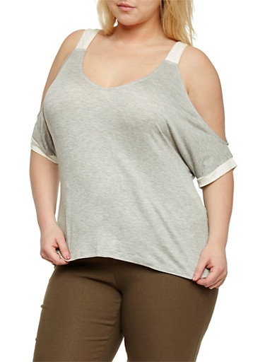 Plus Size Cold Shoulder Top with Contrast Trim,HEATHER GREY/IVORY,large