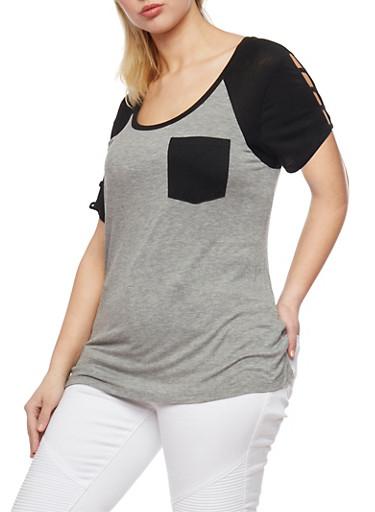 Plus Size Caged Sleeve Raglan T Shirt,M H GREY/ BLACK,large