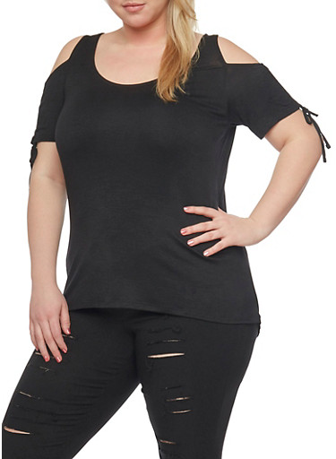 Plus Size Cold Shoulder Top with Tie Sleeves,BLACK,large