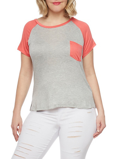 Plus Size Cold Shoulder Color Block T Shirt,LT H GREY/CORAL,large