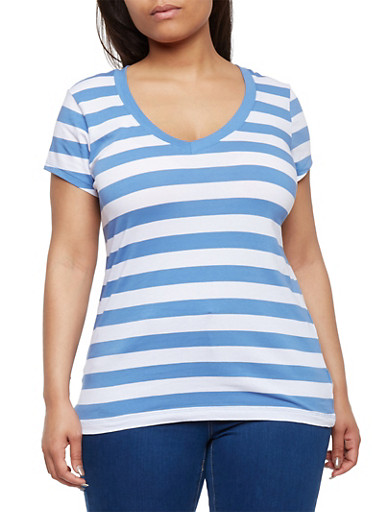 Plus Size Striped V Neck T Shirt,DENIM BLUE- WHITE,large