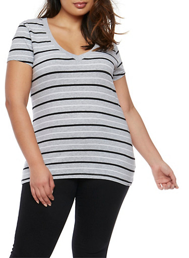 Plus Size Striped V Neck T Shirt,HEATHER GREY-BLK WHITE,large