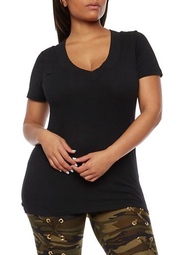 Plus Size Short Sleeve V Neck T Shirt,BLACK,large