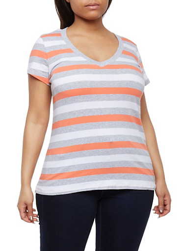 Plus Size Striped V Neck T Shirt,HEATHER GREY- NEW CORAL,large