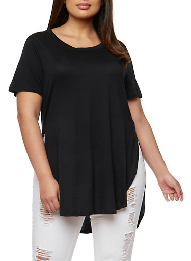 Plus Size Solid Short Sleeve T Shirt with High Low Hem,BLACK,large