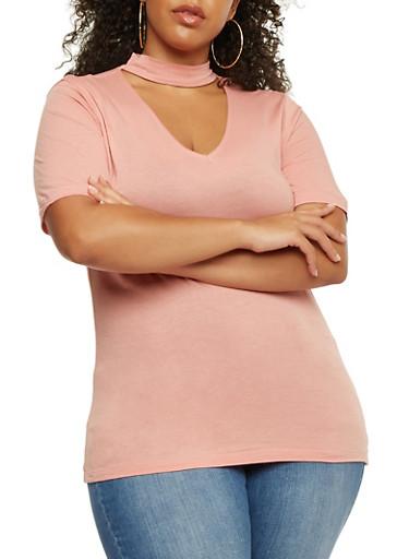 Plus Size V Neck Choker Top,MAUVE,large