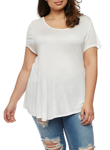 Plus Size Short Sleeve Top with Caged Back,WHITE,large