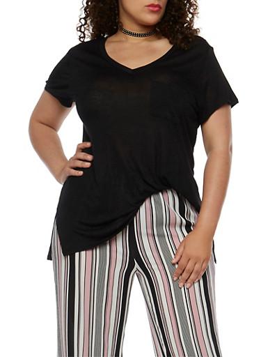 Plus Size V Neck T Shirt,BLACK,large