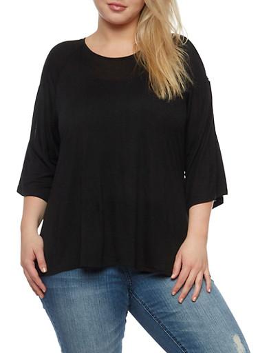 Plus Size Cold Shoulder Cutout Top,BLACK,large