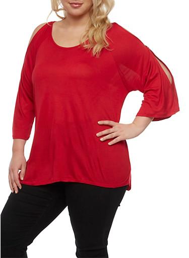 Plus Size Cold Shoulder Cutout Top,RED,large