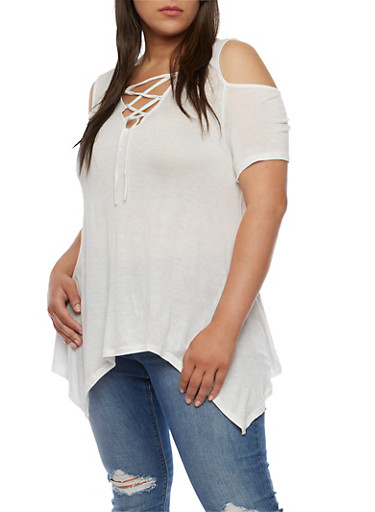 Plus Size Lace Up Cold Shoulder Asymmetrical Top at Rainbow Shops in Daytona Beach, FL | Tuggl